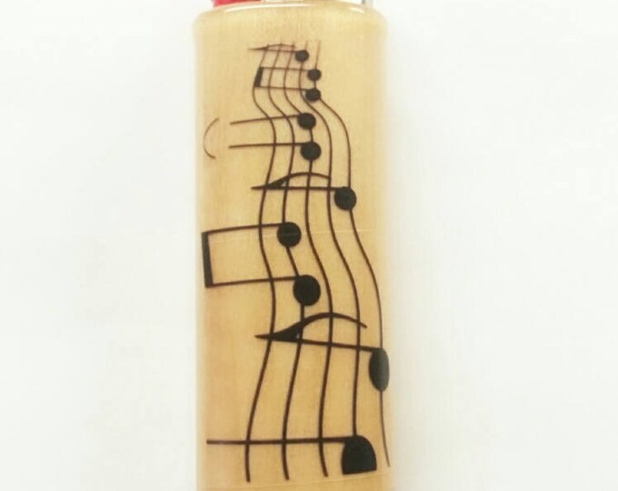 Musical Notes Lighter Case Holder Sleeve Cover Musician Music