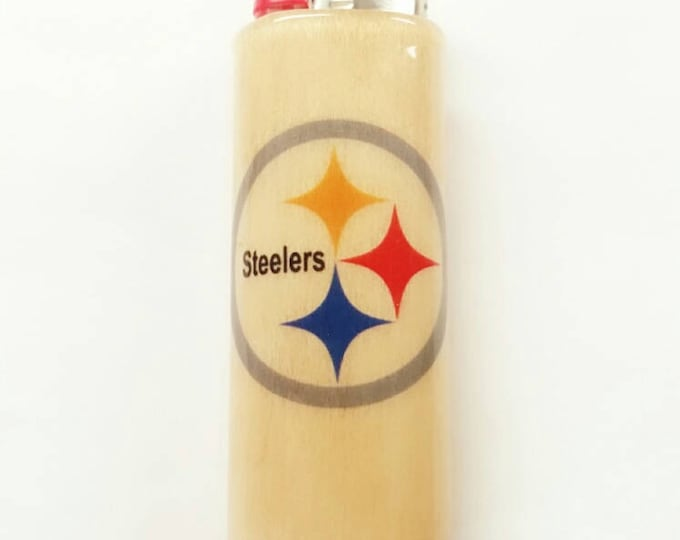 Pittsburgh Steelers NFL Wood Lighter Case Holder Sleeve Cover Fits Bic Lighters