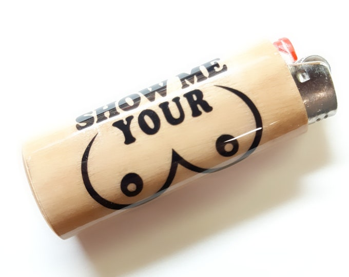 Show Me Your Tits Boobs Breasts Wood Lighter Case Holder Sleeve Cover Fits Bic Lighters