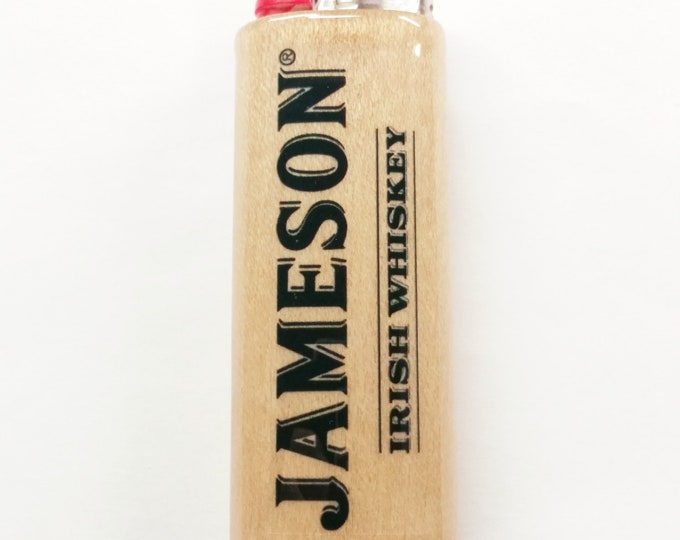 Jameson Irish Whiskey Wood Lighter Case Holder Sleeve Cover Fits Bic Lighters