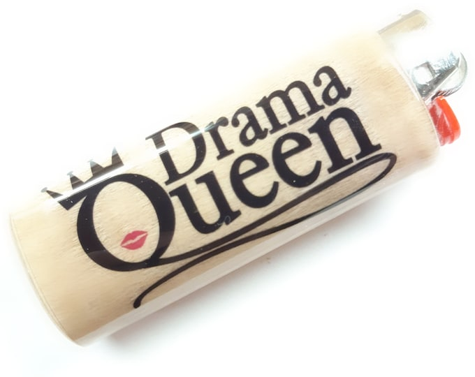 Drama Queen Wood Lighter Case Holder Sleeve Cover Fits Bic Lighters