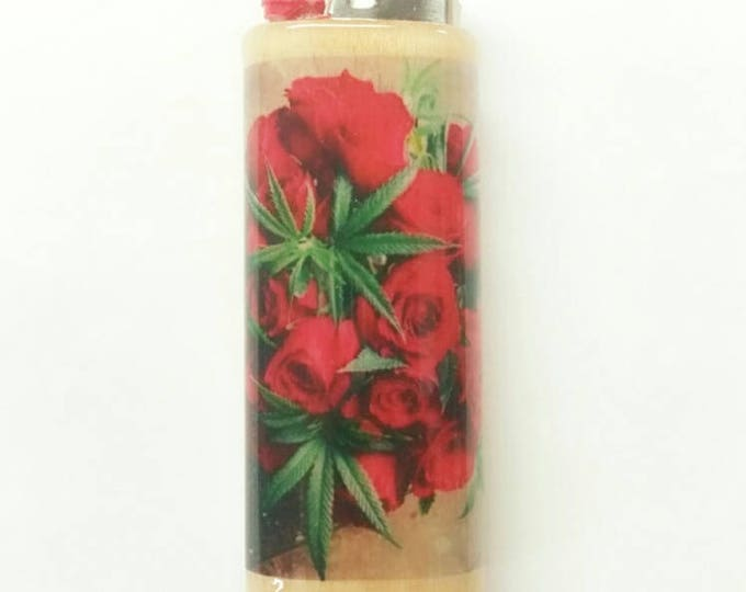 Rose Bush Cannabis Plant Roses Weed Wood Lighter Case Holder Sleeve Cover Fits Bic Lighters