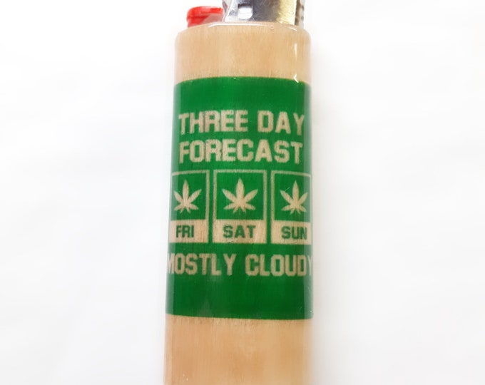 Three Day Forecast Mostly Cloudy Wood Lighter Case Holder Sleeve Cover Fits Bic Lighters