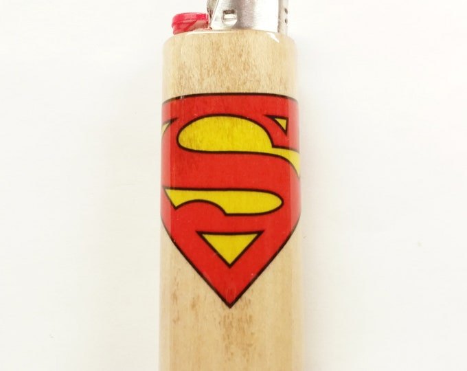 Superman Wood Lighter Case Holder Sleeve Cover Fits Bic Lighters