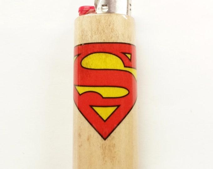 Superman Wood Lighter Case Holder Sleeve Cover Fits Bic Lighters