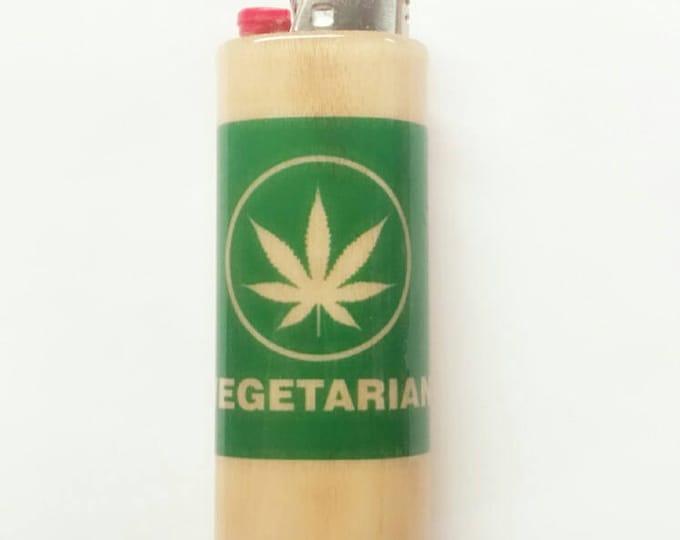 Vegetarian Wood Lighter Case Holder Sleeve Cover Fits Bic Lighters