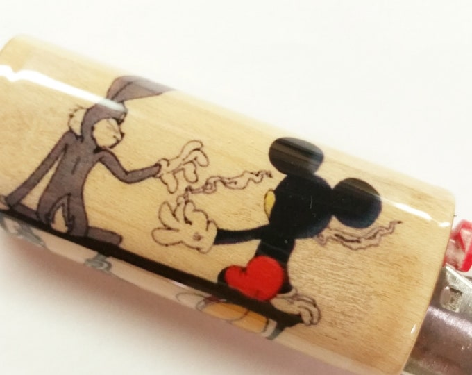Bugs Bunny Mickey Mouse Joint Pass Wood Lighter Case Holder Sleeve Cover Fits Bic Lighters