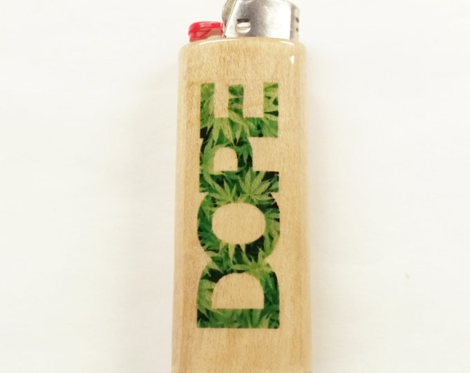 Dope Wood Lighter Case Holder Sleeve Cover Fits Bic Lighters