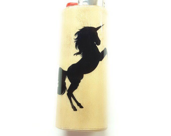 Unicorn Wood Lighter Case Holder Sleeve Cover Fits Bic Lighters