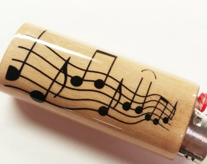 Musical Notes Wood Lighter Case Holder Sleeve Cover Musician Music Fits Bic Lighters