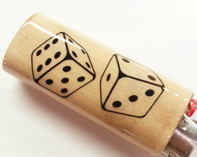 Dice Wood Lighter Case Holder Sleeve Cover Fits Bic Lighters