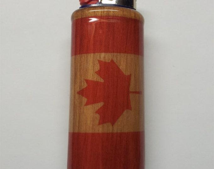 Canadian Flag Wood Lighter Case Holder Sleeve Cover Fits Bic Lighters