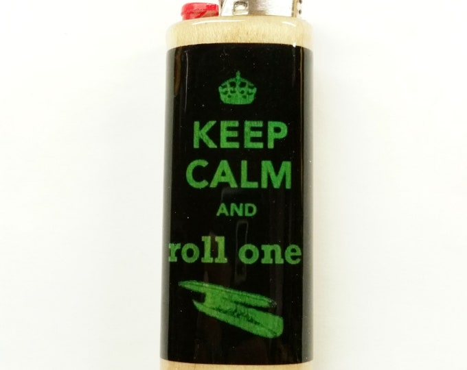 Keep Calm and Roll One Lighter Case Holder Sleeve Cover Fits Bic Lighters