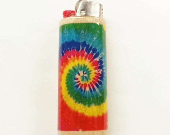 Tie Dye Wood Lighter Case Holder Sleeve Cover Fits Bic Lighters