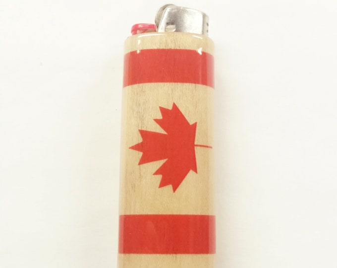 Canadian Flag of Canada Wood Lighter Case Holder Sleeve Cover Fits Bic Lighters