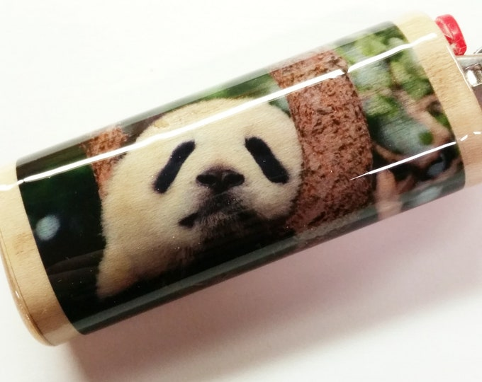 Baby Panda Bear Wood Lighter Case Holder Sleeve Cover Fits Bic Lighters