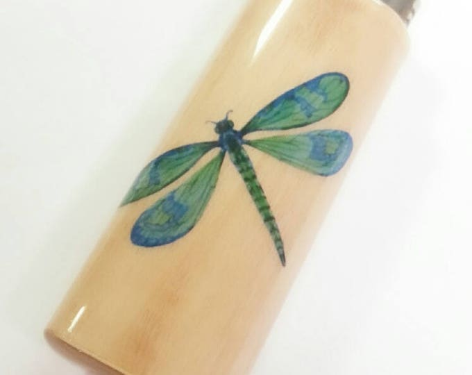 Dragonfly Dragonflies Wood Lighter Case Holder Sleeve Cover Fits Bic Lighters