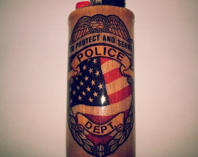Police Department Wood Lighter Case Holder Sleeve Cover Fits Bic Lighters