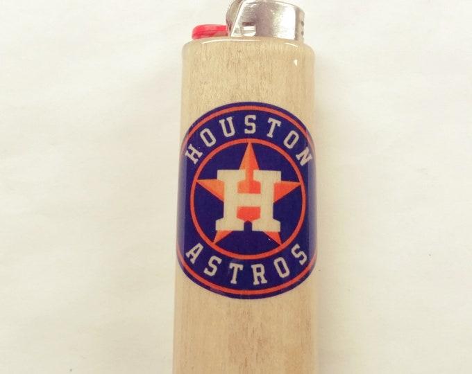 Houston Astros Wood Lighter Case Holder Sleeve Cover Baseball MLB Fits Bic Lighters