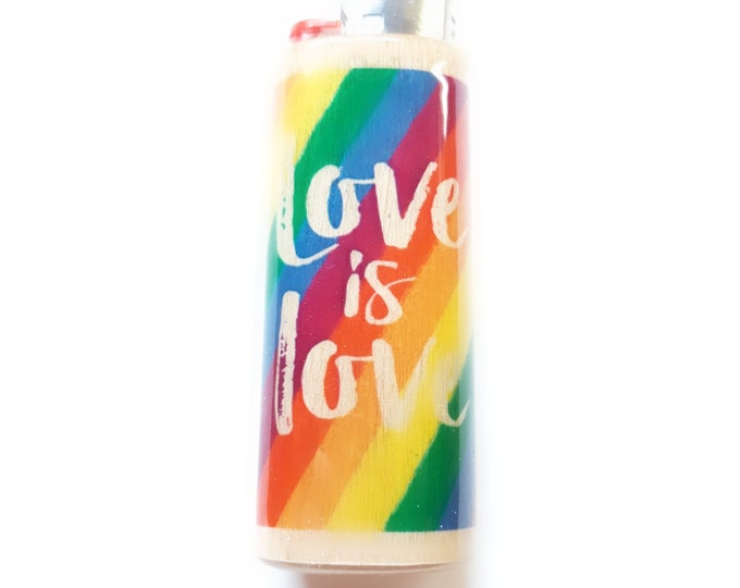 Love is Love LGBT Wood Lighter Case Holder Sleeve Cover Fits Bic Lighters