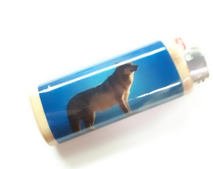Wolf Wood Lighter Case Holder Sleeve Cover Fits Bic Lighters
