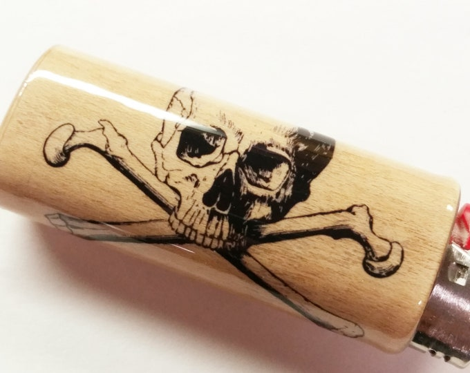 Skull and Crossbones Wood Lighter Case Holder Sleeve Cover Fits Bic Lighters