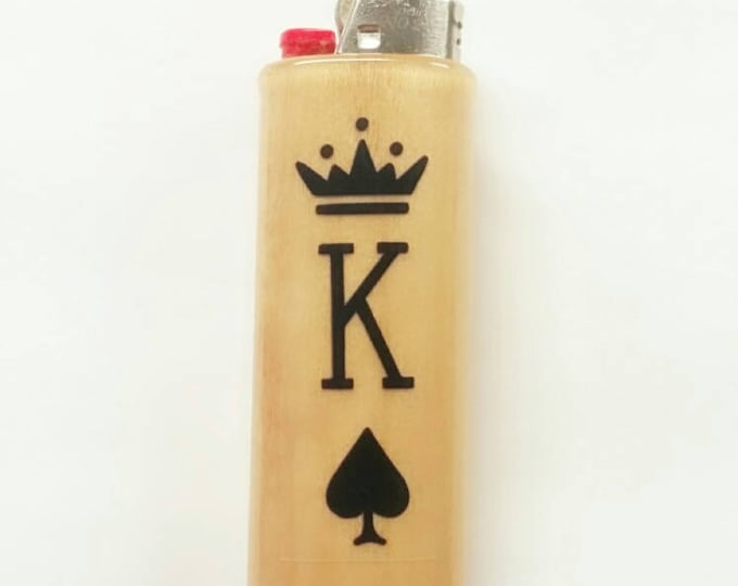 My King Wood Lighter Case Holder Sleeve Cover Gift for Him Fits Bic Lighters