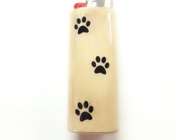 Paw Prints Wood Lighter Case Holder Sleeve Cover Fits Bic Lighters
