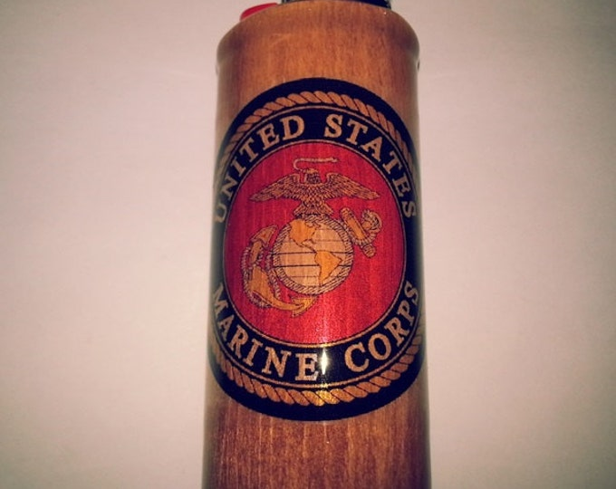 U.S. Marines Wood Lighter Case Holder Sleeve Cover Fits Bic Lighters