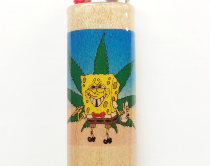 Sponge Bob Weed Wood Lighter Case Holder Sleeve Cover Fits Bic Lighters