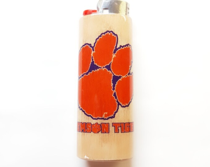 Clemson University Fighting Tigers Wood Lighter Case Holder Sleeve Cover Fits Bic Lighters
