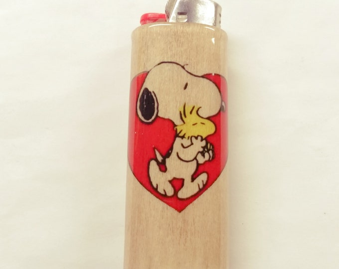 Snoopy Woodstock Wood Lighter Case Holder Sleeve Cover Fits Bic Lighters