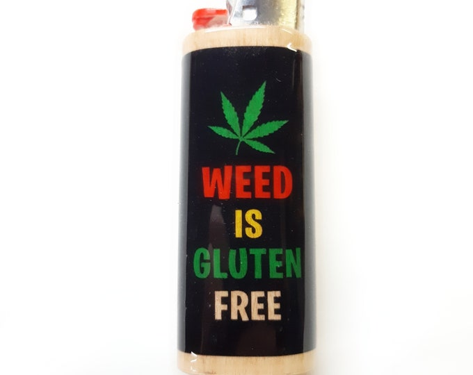 Weed is Gluten Free Wood Lighter Case Holder Sleeve Cover Fits Bic Lighters