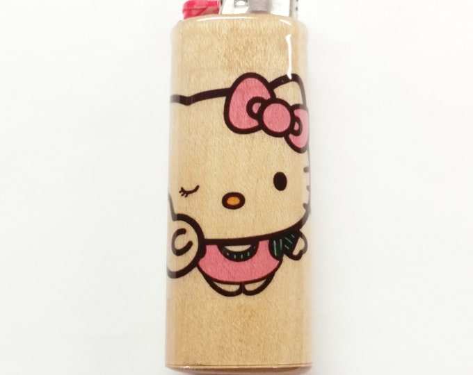 Hello Kitty Wood Lighter Case Holder Sleeve Cover Fits Bic Lighters