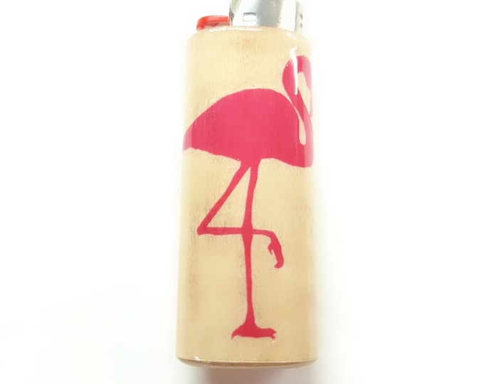 Pink Flamingo Wood Lighter Case Holder Sleeve Cover Fits Bic Lighters