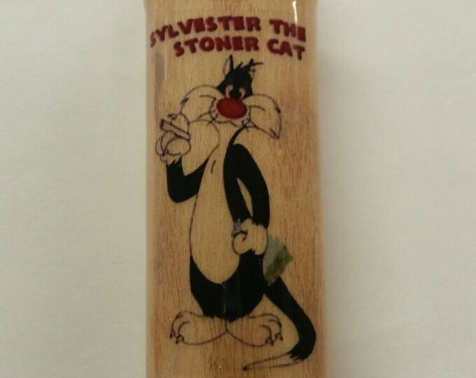 Sylvester the Cat Wood Lighter Case Weed Marijuana Ganja Hemp Holder Sleeve Cover Fits Bic Lighters