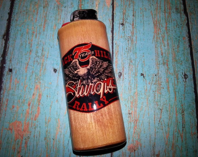 Sturgis 75th Anniversary 2015 Black Hills Rally Wood Lighter Case Holder Sleeve Cover Fits Bic Lighters