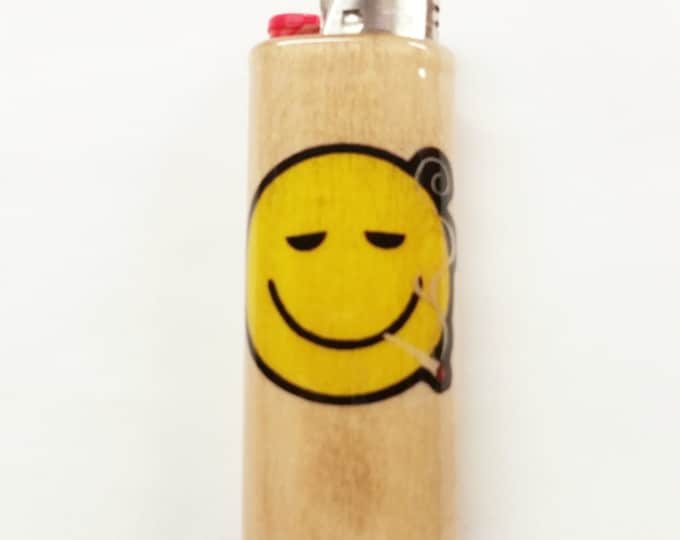 Smiley Face Joint Wood Lighter Case Holder Sleeve Cover Fits Bic Lighters