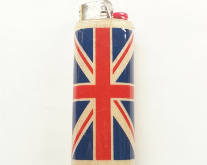 UK Flag United Kingdom Wood Lighter Case Holder Sleeve Cover Fits Bic Lighters