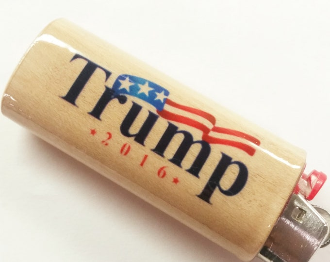 Donald Trump 2016 Make America Great Again Wood Lighter Case Holder Sleeve Cover Fits Bic Lighters