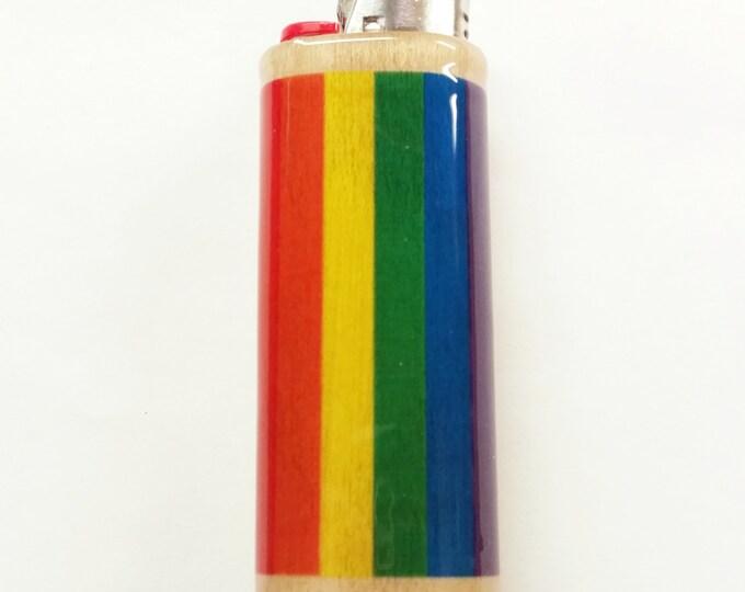 Rainbow Flag Gay Pride LGBT Lighter Case Holder Sleeve Cover Fits Bic Lighters