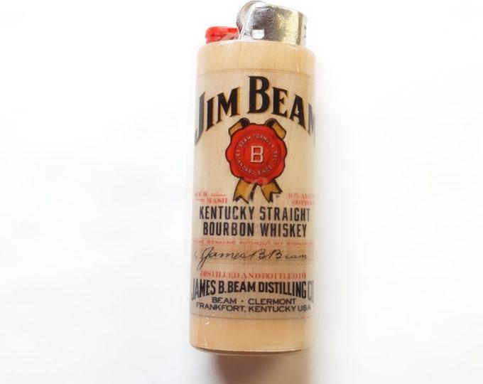 Jim Beam Kentucky Straight Bourbon Whiskey Wood Lighter Case Holder Sleeve Cover Fits Bic Lighters
