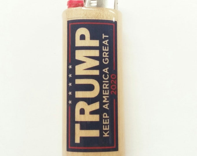 Trump 2020 Keep America Great Wood Lighter Case Holder Sleeve Cover Fits Bic Lighters
