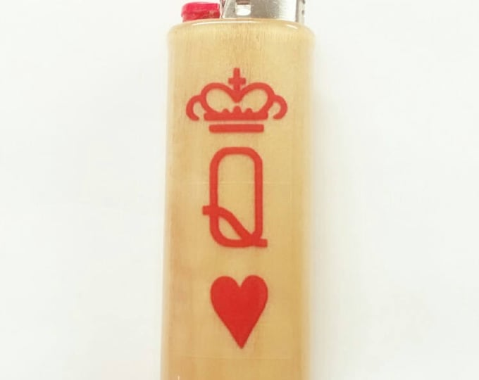 My Queen Wood Lighter Case Holder Sleeve Cover Gift for Her Fits Bic Lighters