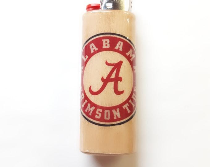 Alabama Crimson Tide Wood Lighter Case Holder Sleeve Cover Fits Bic Lighters