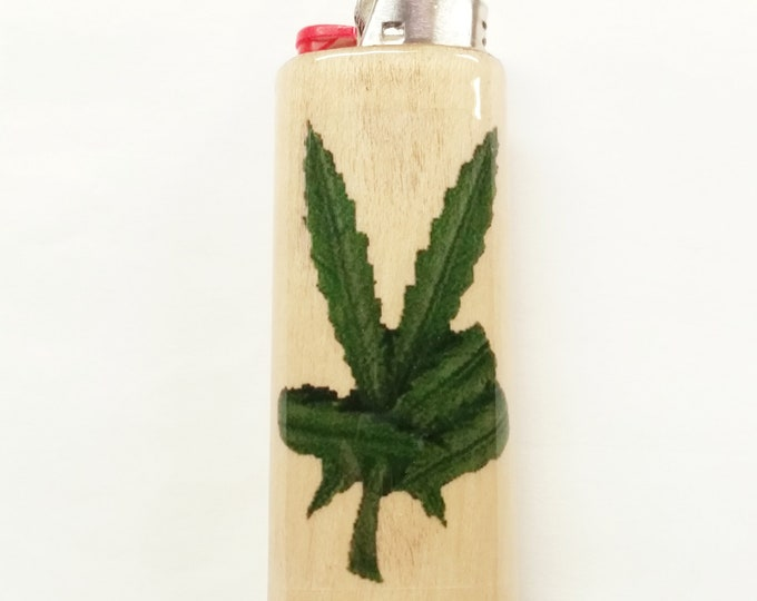 Pot Peace Wood Lighter Case Weed Marijuana Ganja Hemp Holder Sleeve Cover Fits Bic Lighters