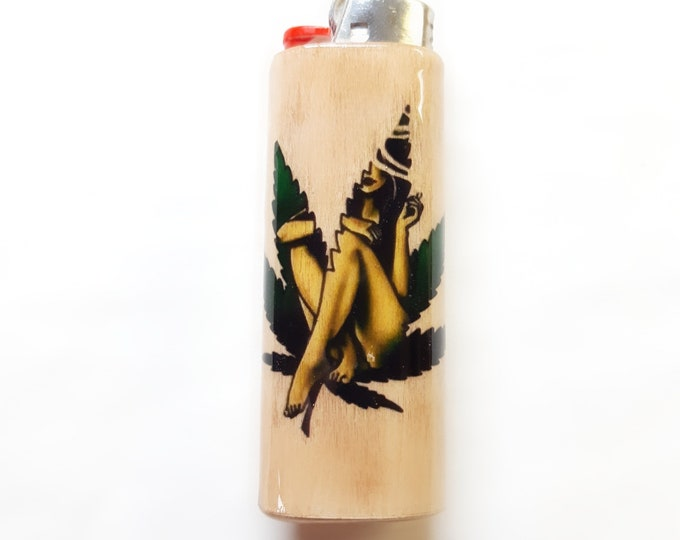Mary Jane Pot Leaf Woman Wood Lighter Case Holder Sleeve Cover Fits Bic Lighters