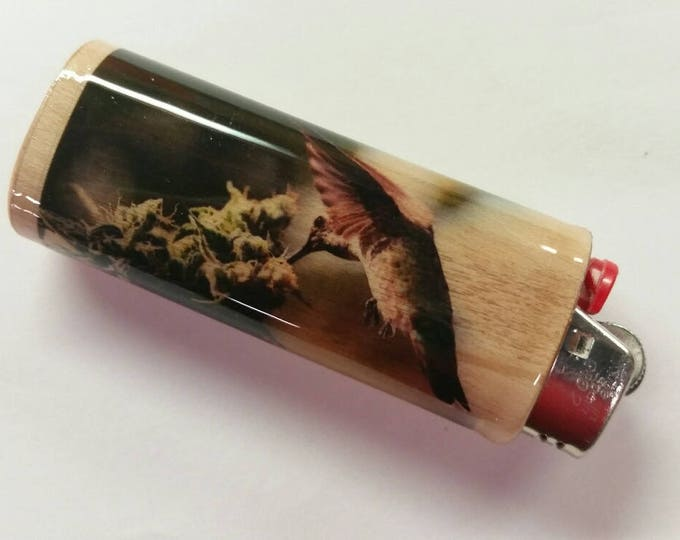 Hummingbird BIC Lighter Case Holder Sleeve Cover Cannibis Weed Plant Pot Marijuana