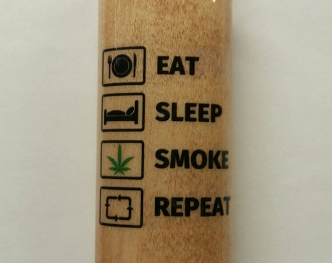 Eat Sleep Smoke Repeat Wood Lighter Case Holder Sleeve Cover Fits Bic Lighters