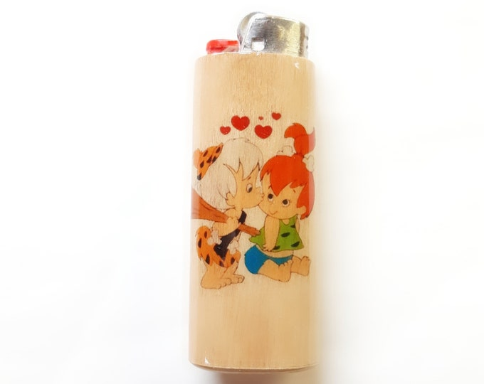Pebbles Bamm Bamm Wood Lighter Case Holder Sleeve Covers Bam Bam Flintstones Fits Bic Lighters